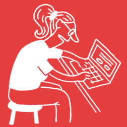 Rysunek postaci z laptopem